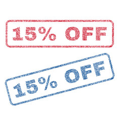 15 percent off textile stamps vector