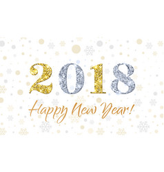 2018 happy new year on snowflakes background gold vector image