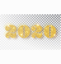 2020 glitter typography design template gold vector image