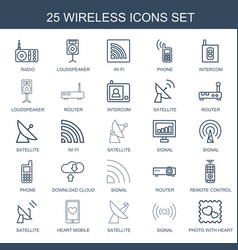 25 wireless icons vector image