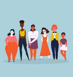A diverse group of women feminine vector