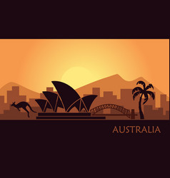 abstract landscape of australia at sunset vector image