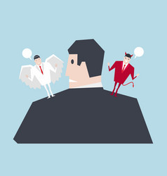 angel and devil suggesting on businessman shoulder vector image