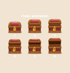 Animation step by step open and closed old wooden vector