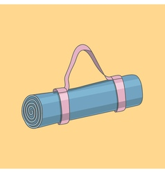 Blue cartoon yoga mat bag vector