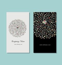 business card design floral mandala vector image