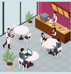 Business lunch people flyer vector