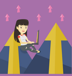 Business woman working on laptop in the mountains vector