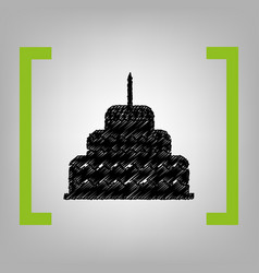cake with candle sign black scribble icon vector image