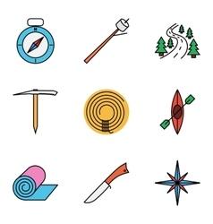 Camping flat icon set vector