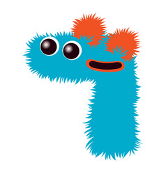 Cartoon cute blue and orange monster number seven vector