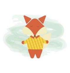 cartoon cute fox flat cartoon character vector image