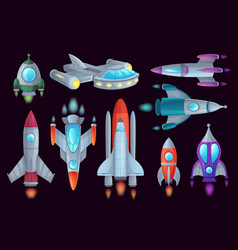 cartoon rockets space rocketship aerospace vector image
