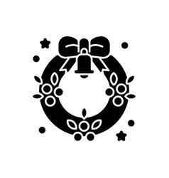 christmas wreath black glyph icon vector image
