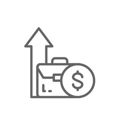 Coin and growing arrow out bag income increase vector