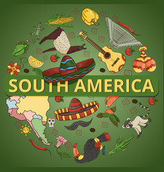 Color 6 drawing on south america theme animals vector