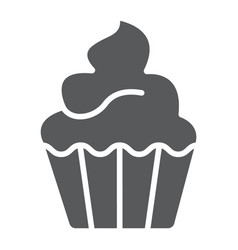 cupcake glyph icon sweet and tasty dessert vector image