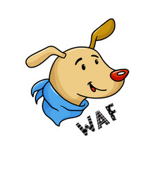 cute funny dog character avatar card saying waf vector image