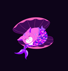cute pink cat mermaid sleeping in shell vector image