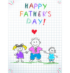 dad with kids happy father day bagreeting card vector image