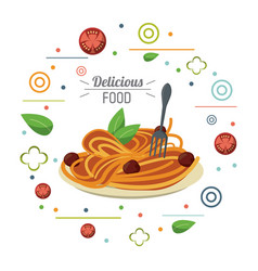 delicious food italian dish pasta and fork card vector image