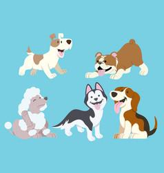 dog cartoon set vector image