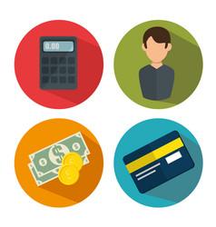 Finance set flat icons vector