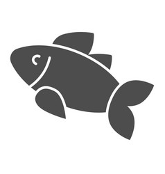 fish solid icon food isolated vector image