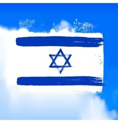Flag of Israel against the sky vector