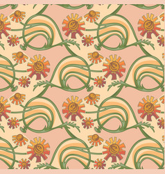 Floral seamless texture in art-nouveau style vector