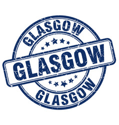 Glasgow blue grunge round vintage rubber stamp vector