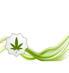 Green waves and cannabis leaf design vector