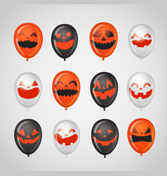 halloween party balloons with pumpkin faces vector image
