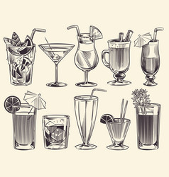 hand drawn cocktails sketch cocktails and alcohol vector image