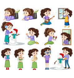 Happy girl in different actions vector