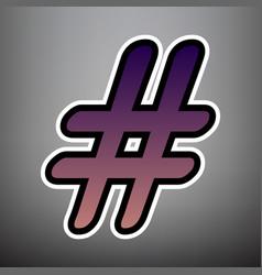 hashtag sign violet gradient vector image