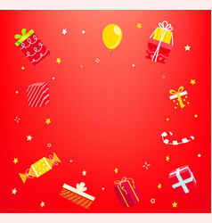 Holiday concept with gift boxes frame vector