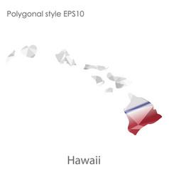 isolated icon hawaii map polygonal geometric vector image