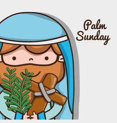 Jesus with catholic cross and palm branches vector