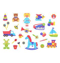 Kid toys set cartoon flat vector