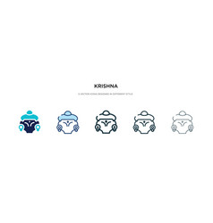 Krishna icon in different style two colored vector