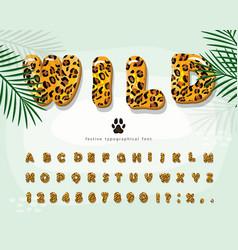 Leopard skin cartoon font jaguar cheetah fur vector