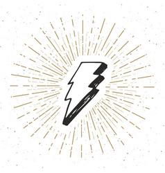 Lightning vintage label hand drawn sketch grunge vector