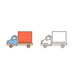 logistics truck van or lorry icon commercial vector image