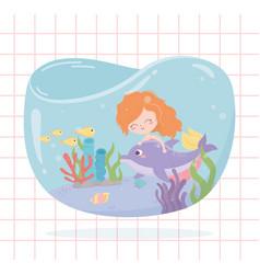 mermaid dolphin fishes coral cartoon under sea vector image