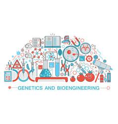 modern flat thin line design biology genetics vector image
