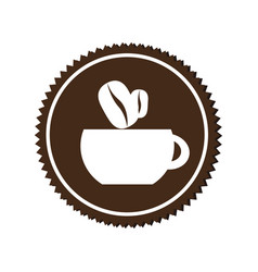 Monochrome circular emblem with coffee cup vector