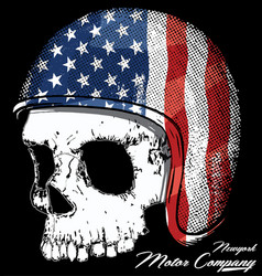 Motorcycle helmet with american flag with skull vector