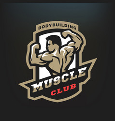 Muscle club bodybuilding emblem logo vector