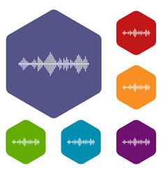 Musical pulse icons set vector